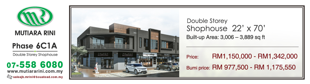 OWN THE EXCLUSIVE UNITS OF COMMERCIAL SPACE AT MUTIARA RINI, SKUDAI