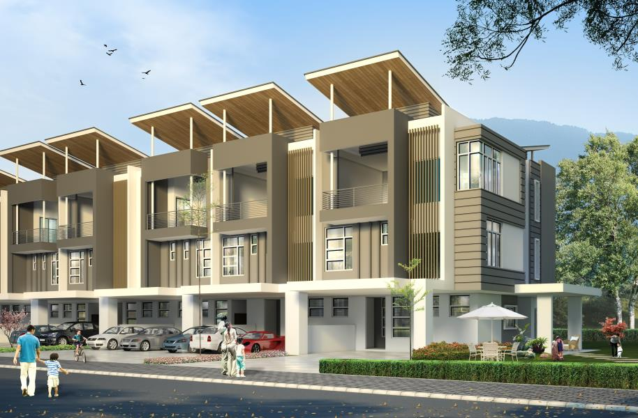Noble residence home villa new 3 sty terrace link house for 3 storey terrace house design